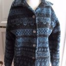 Vintage Womens M Alps Fleece Jacket Berber Sherpa Deep Pile Indian Blanket Print