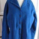 Womens Pendleton Exposed Stitching Knit Cotton Button up Jacket L Bright Blue