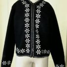 Alps 100% Wool Knit Full Zip Up Front Snowflake Holiday Sweater Jacket Womens L