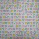 1980s ABC Alphabet Novelty Woven Soft Cotton Flannel Baby Fabric Pastel 2.7 yds