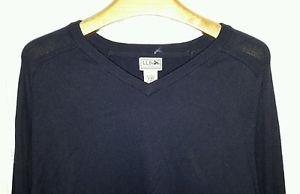 LL Bean Cotton/Cashmere Blend V Neck Knit Sweater Men's size XL Navy O JDG3