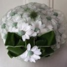 "Vintage 1950s Union Made Daisy Flowers Netting Velvet green Bow HAT 7x7.5"" USA"
