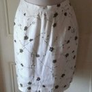NWOT Luisa Spagnoli Perugia Floral A-Line Flax/Linen Skirt womens sIze 46 olive