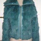 Womens Turquoise Weather Vane Genuine Rabbit Fur Wide Collar Full Zip Up Jacket