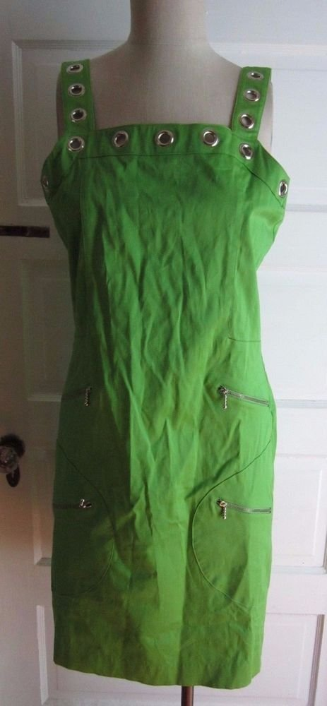 Connie Howard Grommet Zippered Jumper Romper Tunic Dress Womens 12 Neon Lime