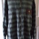 Mens L Ride Cappel Woven 100% Weighted Cotton Full Zip Up Plaid Shirt Jacket