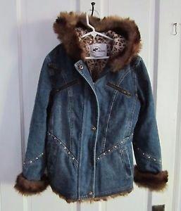 Girls KC Collections Hooded Fur Trim Embellished Denim Blue Jean Jacket Kids M