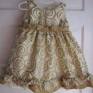 Baby Girls 24M Cherokee Satin Tulle Gold Swirled Party Formal Holiday Dress