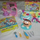 Lot of 3 Play-doh dough Pony Pinky Pie Cake Makin' Station Doctor Drill 'n Fill