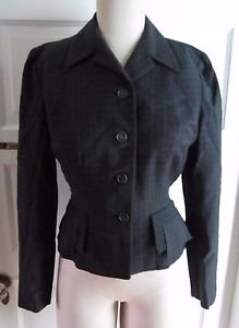 Vintage 1950s Peck & Peck Miron Woolens Plaid Cropped Jacket Blazer Fit & Flare