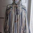 JouJou Chambray Railroad Striped Baja Hooded Lace Up Shirt Jacket Blue Jean Mens