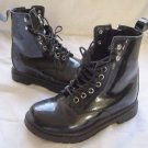 Iijin Patent Leather Lace Up Side Zip Hook & Eye Fashion Combat Boots 35 4 5 US