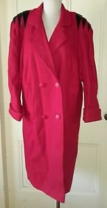80's Rebecca Lynn Petites Double Breasted Cocoon Fluted Shoulders Long Coat S/M