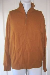 J.Crew 100% Lambswool Lightweight 1/4 Zip Knit SWEATER mens L Burnt Orange Rust