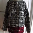 Womens J.Crew 100% Wool Knit Nordic Fair Isle Snowflake Crew neck Sweater M Red