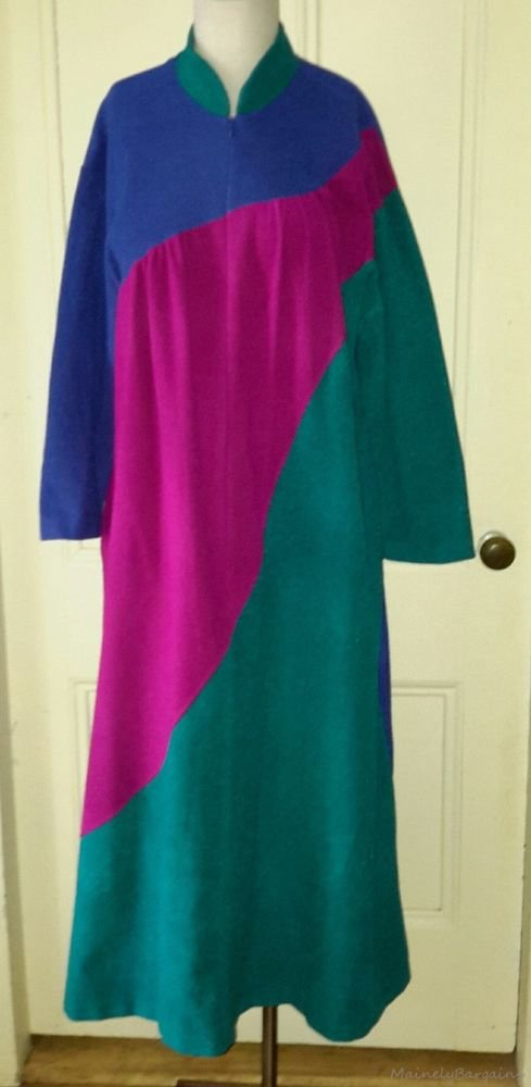 Vintage Vanity Fair Velour Zip Up Front Maxi Bath Robe Housecoat Colorblock 12