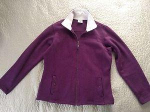 Columbia full zip up sweatshirt style jacket coat fleece lined collar women's L