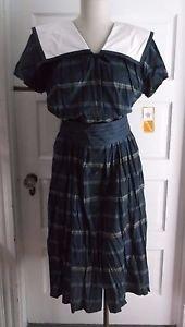 Womens NOS Donna Morgan Non Stop Plaid Sailor Shirt Dress 10 USA Bow Cummerbund