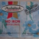 Vintage NIP Meadowbrook Luxury Percale No Iron Blue Flower Twin Flat Sheet USA