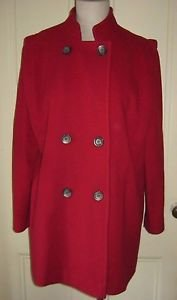 Union Made Stand Up Collar Double Breasted Wool Short Car Coat Womens 14 Red