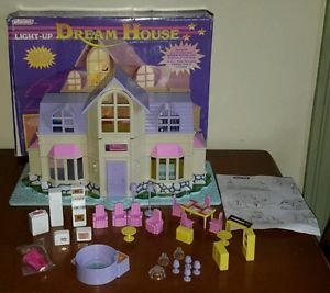 Vintage Blue Box Polly Pocket size Light Up Dream House Doll Furniture Box Bird