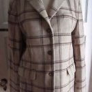 Womens LL Bean Wool Cashmere Glen Windowpane Plaid Blazer Jacket 10 Beige Tan