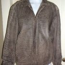 Vera Pelle Snakeskin Mottled Look Leather Flight Bomber Military Jacket Mens L