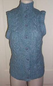 Vintage LL Bean Cable Knit Wool Cotton Button Up Mock Turtleneck Sweater Vest M