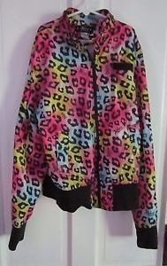 Abbey Dawn by Avril Lavigne Girls Loud Bright Colorful Satin Cheetah Jacket L