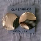 Pair of Gold colored clip on button Earrings Costume Jewelry Vintage? Crafting