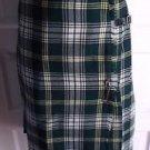 Womens Vintage Loch Linnhie Tartan Plaid Buckle Pinned Wrap Kilt Skirt Womens 14