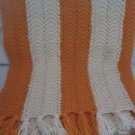 Vintage Crocheted Ripple Striped 84 X 59 Hand Made Fringed Afghan Orange Cream