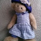 "2004 Boyds Bear Karissa Heart to Heart Friend Purple Hat Plaid Dress 15"" plush"
