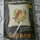"70's Sultana Wise One Owl 13"" Decorative Pillow Kit Wool Crewel Yarn Fabric USA"