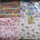 4 Vintage 1950s Garden Floral Wrapping Paper Squares Norcross Hy-Sil Flowers