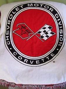 Chevrolet Motor Division Corvette Woven Fringed Throw Blanket Beacon Red Black