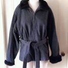 Jason Kole Petites Faux Fur collar Zip up Tie Jacket Sz 10P 100% Wool 13108P