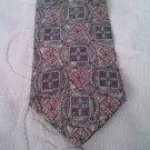 "Bill Blass 100% Silk necktie 4"" w 58"" L Squares Circles Geometric"