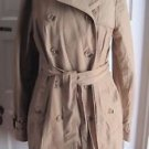 Eddie Bauer Double Breasted Belted Tie Cape Top Khaki Trench Spy Coat Womens L