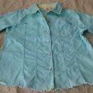 Quacker Factory raw edge cotton Jean Denim JACKET coat womens Medium stretch