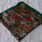NWT! Vintage polyester scarf Handkerchief head wrap Made in Italy green paisley