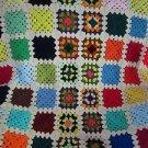 Vintage Crochet Afghan Granny Handmade Blanket Grandma Squares 52x57 inch tan