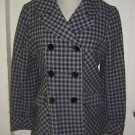 Via Plaid Wool Peacoat Double breasted jacket Womens sz L 87204X Checked Spiga?