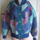 Vintage Avant Garde Jeanne Marc Quilted Patchwork Sweater Jacket Womens XS USA