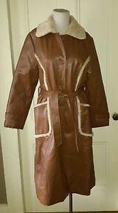 Vintage Fingerhut Faux Fur Lined Vinyl Leather Belted Trench Long Coat size L/16
