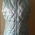 Lands End Metallic Goose Down Quilted Puffer Vest Womens M 10 12 Sparkly Blue