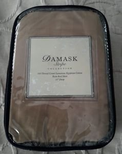 """Damask Stripe Collection 500 Thread Count Egyptian Cotton Twin Bed Skirt 15"""" Drp"""