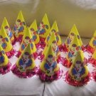 Vintage Circus Clown Happy Birthday Party Paper Cone Hats Yellow Lot of 41 Bozo