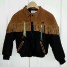Vintage Identity Leather Fringe Tassels Wool Western Kids Boys Youth Jacket 12