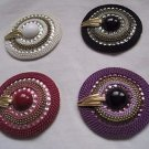 VINTAGE Lot 4 Charmant Beverly Hills Beaded Jewelled Hats Belt Buckles 2.5""